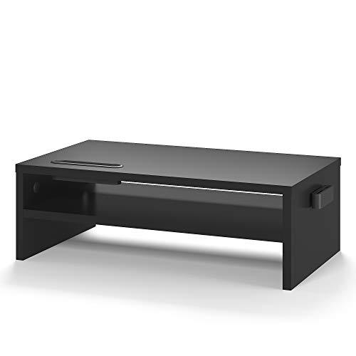 BONTEC Monitorständer aus Holz, PC Bildschirm Ständer, Bildschirmständer mit Handyhalter, Ergonomischem Laptop-Druckerständer mit Kabelführung für Laptop, Computer, Notebook, iMac, PC, 42CM, Schwarz