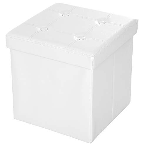 SONGMICS Sitzhocker, faltbarer Sitzwürfel, Aufbewahrungsbox, 38 cm, bis 300 kg belastbar, weiß LSF30W
