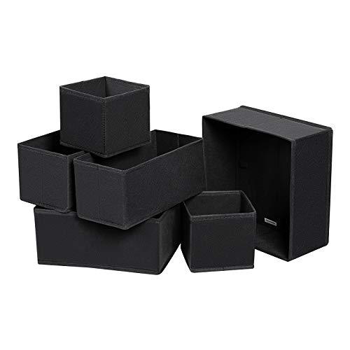 SONGMICS Aufbewahrungsbox für Schublade, 6er Set, Unterwäsche-Organizer, Schubladen-Organizer, Faltbare Stoffbox für Socken, Unterwäsche, BHS, Krawatten und Schals, schwarz RDZ06H