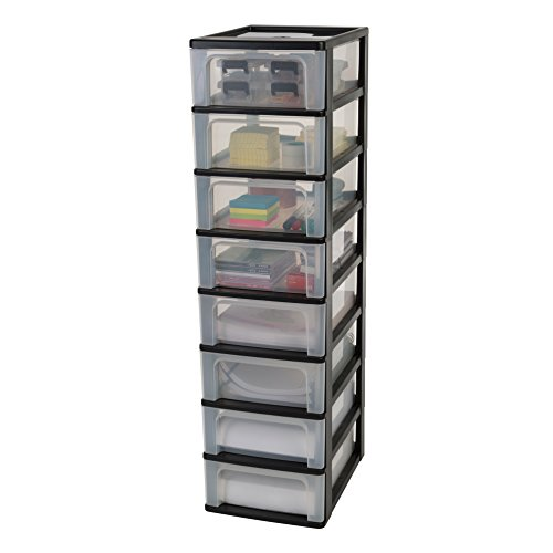 Iris Organizer Chest OCH-2008 Schubladencontainer-/ schrank, Kunststoff, schwarz / transparent, 35,5 x 26 x 96,5 cm