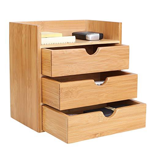Homfa Bambus Schreibtisch Organizer 20x13x21cm Aufbewahrungsbox Organisation Stiftebox Stifteköcher Stiftehalter Schreibtischorganizer