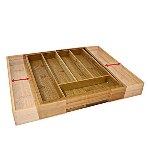 Relaxdays Besteckkasten Bambus, ausziehbarer Besteckeinsatz als Küchenorganizer, Schubladeneinsatz 33,5x29-48x5 cm, natur