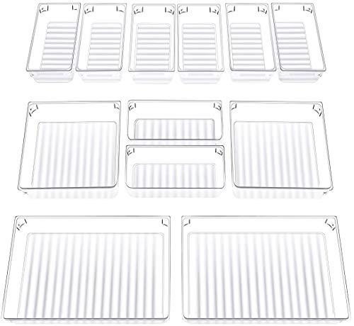 InnoGear 12 Stücke Getrennte Schublade Organizer Ordnungssystem mit 3-Größen-Aufbewahrungsboxen aus durchsichtigem Kunststoff Divider Make-up Organizer für Küche Büro Schminktisch