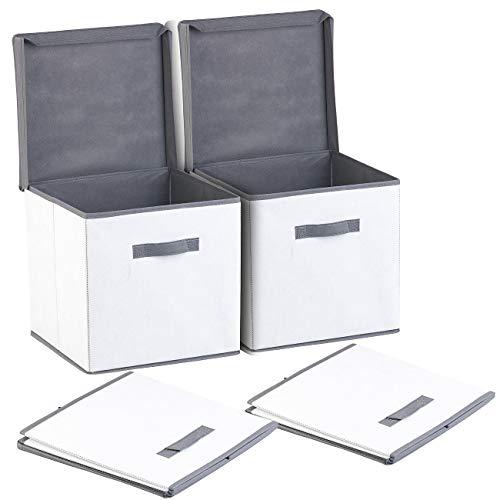PEARL Aufbewahrung: 2er-Set Aufbewahrungsboxen mit Deckel, faltbar, 31x31x31 cm, weiß (Ordnungsbox)
