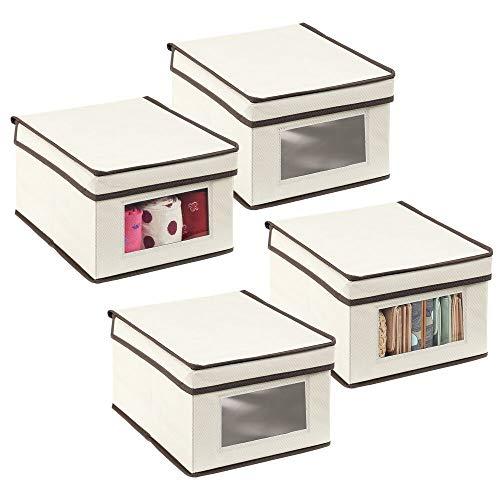 mDesign 4er-Set Aufbewahrungsbox – kleine Aufbewahrungskiste mit Deckel und Sichtfenster aus Kunststoff – rechteckige Schrankbox zur Kleideraufbewahrung im Schlafzimmer – cremefarben und braun
