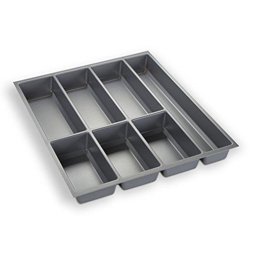 Orga-Box Besteckeinsatz Silbergrau für 50er Schublade z.B. Nobilia ab 2013 (473,5 x 394 mm) Besteckkasten III
