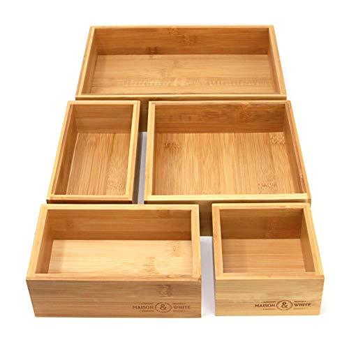 5-teiliger Bambus-Schubladen-Organizer | Set von 5 dauerhaften Holz Aufbewahrungsboxen | Verschiedene Größen | Vielseitig und konfigurierbar |M&W