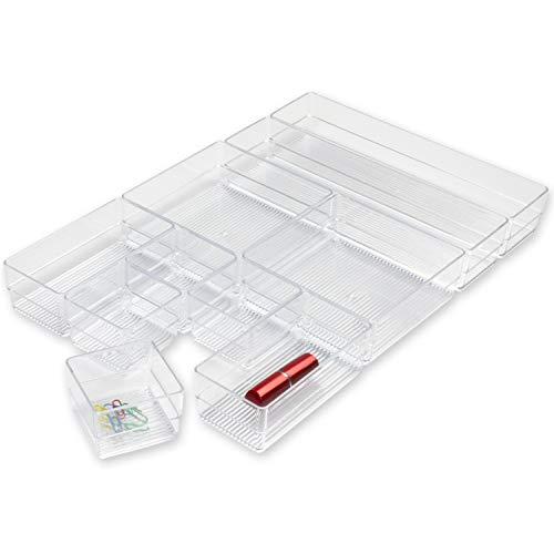 Hausfelder ORDNUNGSLIEBE Schubladen Organizer Ordnungssystem - Aufbewahrung für Küche Büro Schminktisch Kosmetik, variabel und transparent aus Kunststoff (10-teilig inkl. Verbinder)