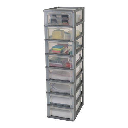 Iris Organizer Chest OCH-2008 Schubladencontainer-/ schrank, Kunststoff, silber / transparent, 35,5 x 26 x 96,5 cm