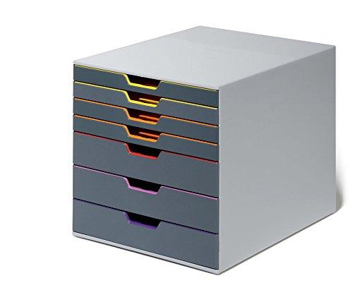Durable 760727 Schubladenbox A4 (Varicolor) 7 Fächer (mit Etiketten zur Beschriftung) mehrfarbig