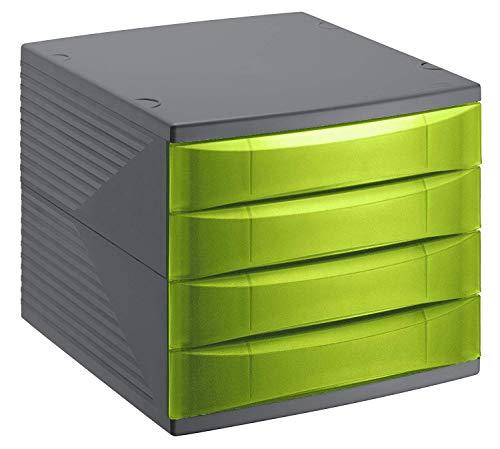 Rotho Quadra Schubladenbox / Bürobox mit 4 Schüben, Kunststoff (PS) BPA-frei, grün/schwarz, 36,5 x 28,0 x 25,0 cm