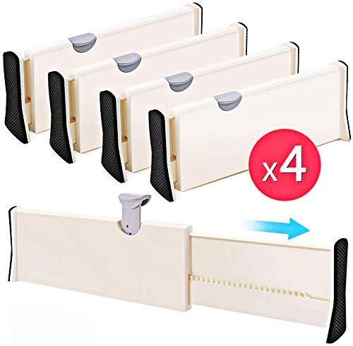 4er-Set einstellbare Schubladenteiler Organizer Separatoren - Dresser Organizer - für Schlafzimmer, Badezimmer, Schrank, Babyschublade, Schreibtisch, Babyschublade, Schreibtisch, Küchenspeicher
