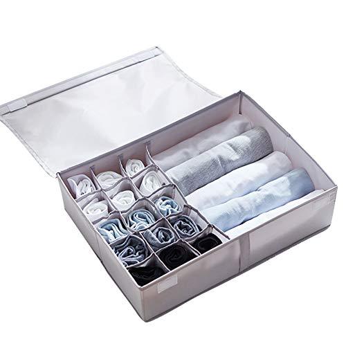 Fyore Aufbewahrungsbox Faltbare Ordnungssystem für Unterwäsche Organizer Schubladenunterteilungen Schubladenteiler für Kleiderschrankschubladen für Socken, BHS und Krawatten, Faltbox, Stoffbox