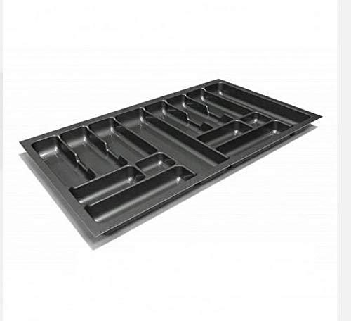 Besteckeinsatz Schubladeneinsatz Besteckkasten Comfort Universal   für 90er Schubladen   zuschneidbar von 810-835 mm   Silbergrau