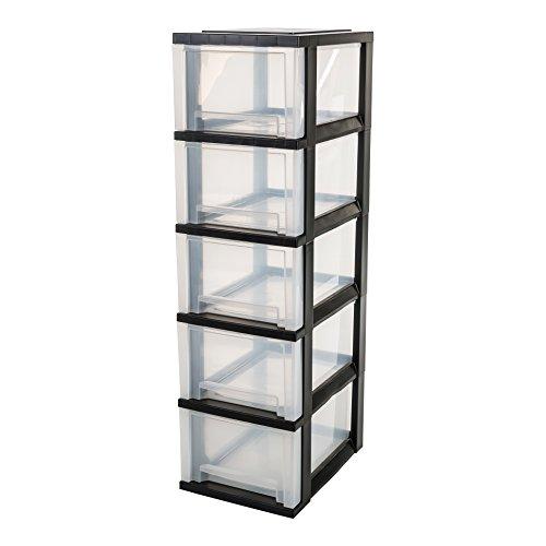 IRIS, Schubladenschrank / Schubladenbox / Rollwagen / Rollcontainer / Werkzeugschrank 'Smart Drawer Chest', SDC-305, mit Rollen, Kunststoff, schwarz / transparent