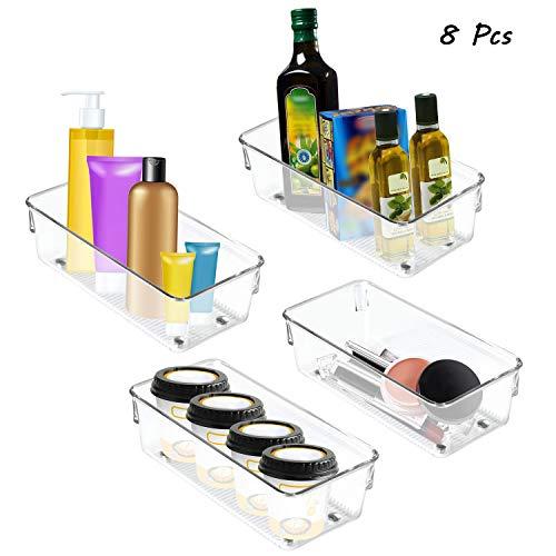 Kühlschrank Organizer (8Stk) - Kühlschrank Aufbewahrungsboxen aus Plastik - Aufbewahrung Behälter Küche – Bad Ordnungssysstem – Küchenschrank, Kühlschrankkörbe, Schubladen Organiser Fach (20cm)