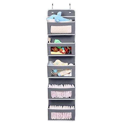 Magicfly Hängeorganizer 5 Großen Taschen mit Fenster, Multifunktionale Hänge Organizer Hängeaufbewahrung für Tür Bad Kinderzimmer Wohnzimmer Schlafzimmer, Grau