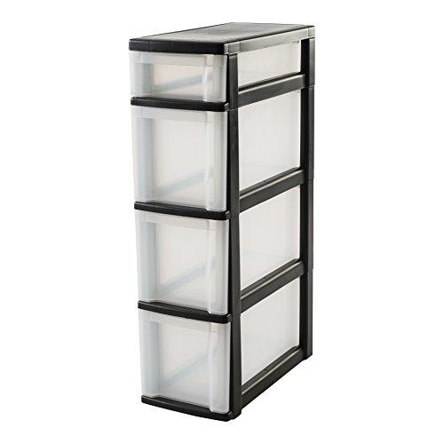 IRIS 110460, Nischenwagen / Schubladenschrank / Rollwagen / Rollcontainer 'New Slim Chest', NSC-213, mit Rollen, für Küche / Badezimmer, Kunststoff, schwarz / transparent