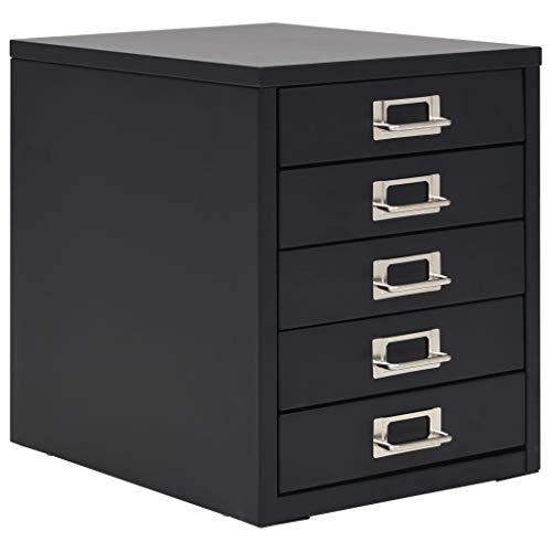 Festnight Aktenschrank mit 5 Schubladen | Büroschrank | Schubladenschrank | Metallschrank | Schubladencontainer | Lagerschrank | Schwarz Metall 28 x 35 x 35 cm