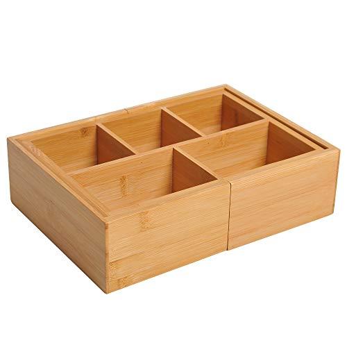 HOMCOM Aufbewahrungsbox Ordnungsbox Schubladen Organizer ausziehbar Bambus Natur L24,6 x B17,6 x H7 cm