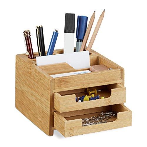 Relaxdays Schreibtisch Organizer Bambus, Stiftehalter Holz, Schreibtischbox Schubladen, HxBxT: 9,5 x 12,5 x 15 cm, natur