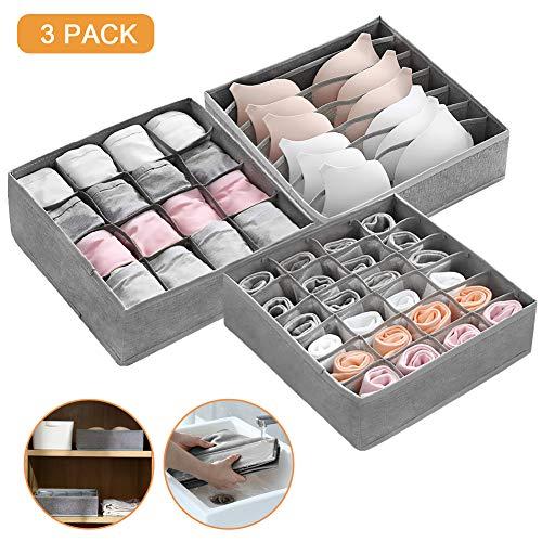 Ballery 3 Stück Aufbewahrungsbox für Unterwäsche, Schublade Organizer Kleiderschrankschubladen Faltbare Schubladenunterteilungen für Socken, BHS und Krawatten, Grau