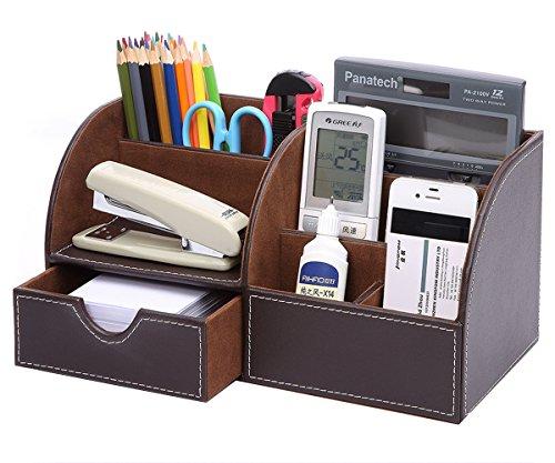 KINGFOM Büro Schreibtisch Organizer Ordnungssystem Tisch Organizer PU Leder Stiftehalter Stiftebox Stifteköcher Multifunktionale Bürobedarf (Braun)