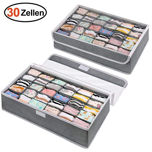 DIMJ 30 Zellen Sock Organizer, 2 Stück Aufbewahrungsboxen für Unterwäsche Faltbare Schublade Organizer zum Aufbewahren von Socken, Krawatten und andere kleine Zubehörteile (Grau)