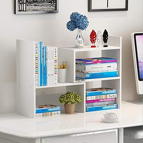 JingPeng Verstellbares Bücherregal aus Holz, erweiterbarer Schreibtisch-Organizer, Display-Regal, Bürobedarf, Schreibtisch-Organizer, weiß