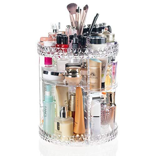 Display4top Make-Up Organizer Um 360 Drehbar, Aufbewahrungsbox mit großem Fassungsvermögen, geeignet für Schmuck, Make-up-Pinsel, Lippenstift und mehr (Transparent B)