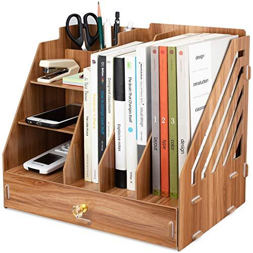 Tonsmile Büro Tisch Schreibtisch Organizer Stifte Organizer Holz mit schubladen für A4 Papiere, Bücher, Stifte und Notizbücher