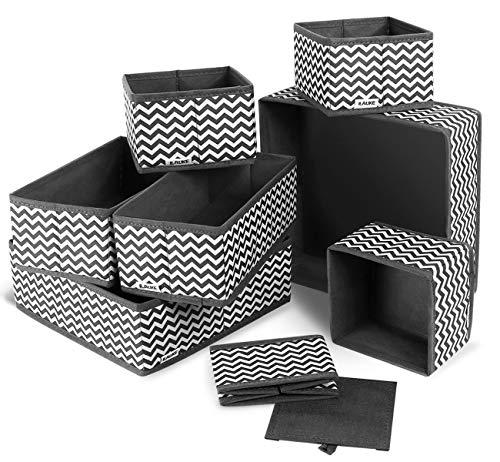 ilauke 8 Stück Aufbewahrungsbox Stoff Set faltbar Unterwäsche Socken Organizer Ordnungsbox Faltbox Stoffbox für Schubladen Ordnungssystem