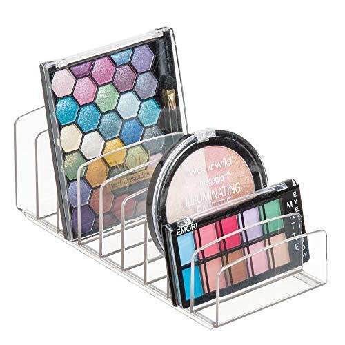 mDesign Kosmetik Organizer aus Kunststoff – Schminkaufbewahrung mit 9 Steckplätzen – Aufbewahrungsbox für den Waschtisch, Schminktisch oder Schrank – durchsichtig