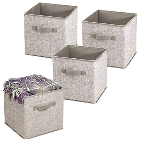 mDesign 4er-Set Aufbewahrungsbox Stoff – Stoffkiste für Kinderzimmer oder Schlafzimmer – die ideale Spielzeugkiste mit Griff – grau