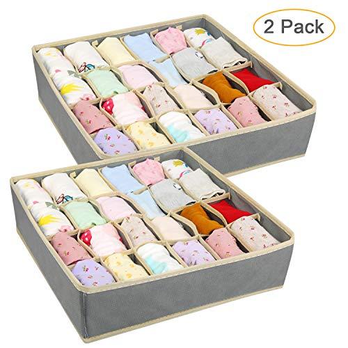 Ballery 2 Stück Aufbewahrungsboxen für Unterwäsche, Schubladen-Organizer, 24 Zellen Faltbare Schubladenunterteilungen zum Aufbewahren von Socken,Schals,Büstenhalter (Beige)
