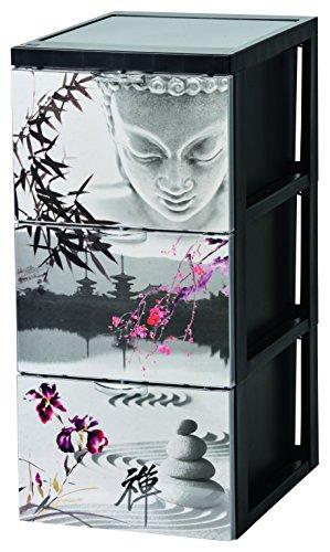 Iris Design Schubladencontainer mit 3 Schubladen, Plastik, japanische Ruhe, groß