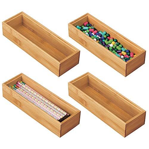 mDesgn 4er-Set Aufbewahrungsbox für Schreibtisch und Schublade – rechteckige Schubladenbox aus Bambus – hochwertiger Schreibtisch Organizer für Bürobedarf und Bastelsachen – naturfarben